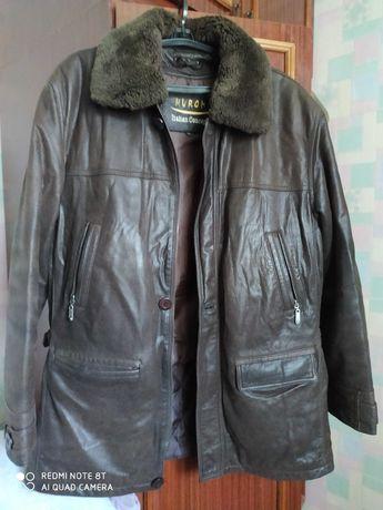 Куртка кожаная зимняя мужская