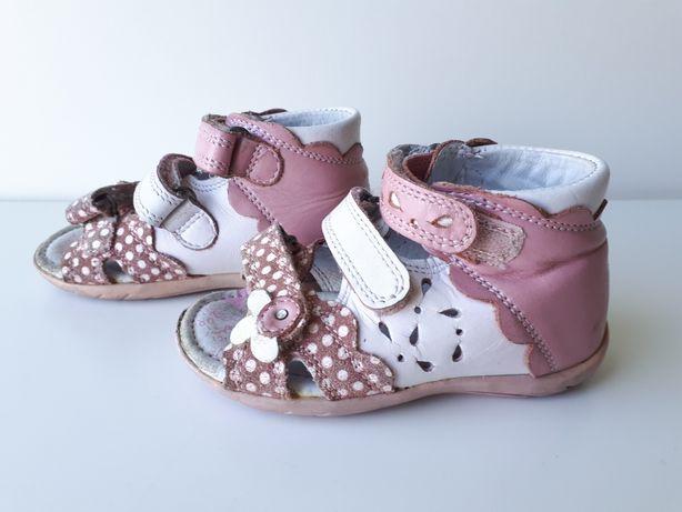 SANDAŁY dla dziewczynki, buty dla dziecka BARTEK skóra naturalna r. 21