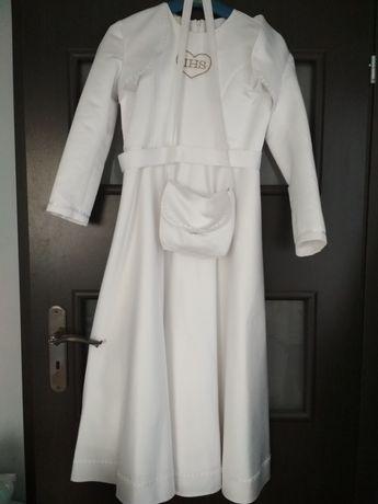 suknia sukienka komunijna bolerko torebka 140 /146cm