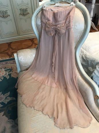 На Выпускной! Нежнейшее шифоновое платье Пудровая Роза