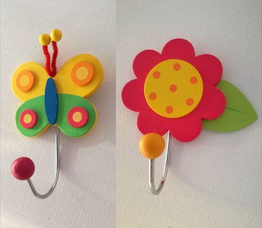 NOWE wieszaczek wieszak dla dziecka ozdobny drewniany motyl kwiatek