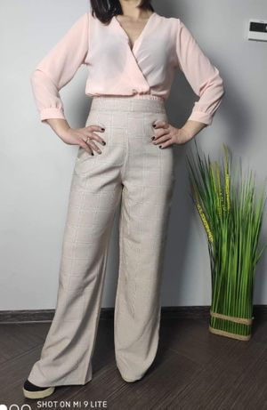 Świetna spodnie Boohoo z szerokimi nogawkami wysoki stan! wyprzedaż