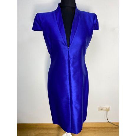 Платье Alexander McQueen синее  шерсть шелк