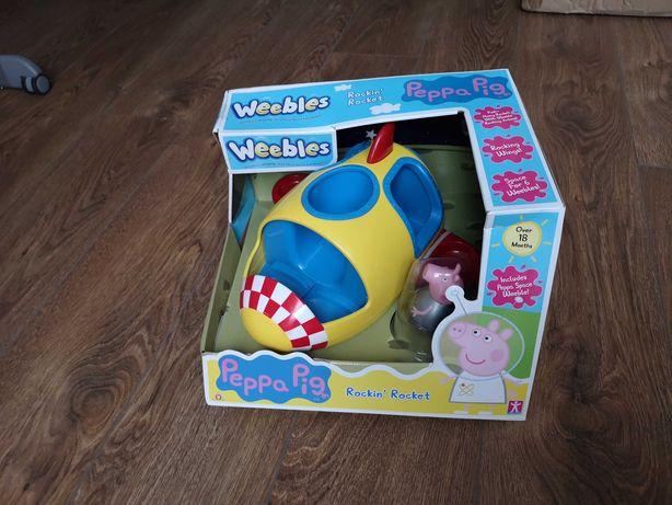 Peppa Pig Weebles, NOWA zabawka rakieta wańka wstańka figurka