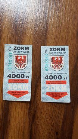 Bilety ZOKM Gorzów Wielkopolski * 2 szt. 4000 złotych ***