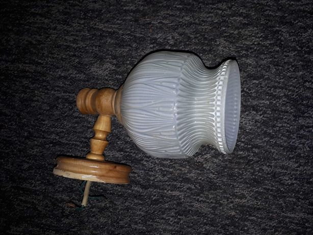 Lampa kinkiet na ścianę drewniany szklany