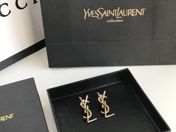 YSL Saint Laurent kolczyki stare złoto pudełko prezent premium