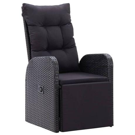 vidaXL Cadeira de jardim reclinável com almofadão vime PE preto 46066