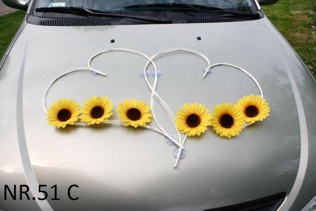 Serca ze słonecznikami.Dekoracja na samochód/stroik/ozdoba/ślub