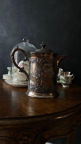 Антикварный кофейник с керамической колбой, Forbes Silver Co., (США)