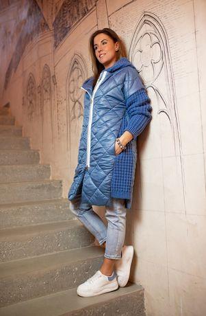 Nowy pikowany płaszcz damski M
