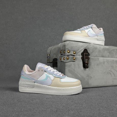 20361 Nike Air Force 1 Shadow Белые с бежевым кроссовки форсы женские
