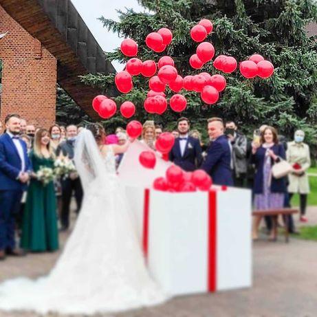 Wypuszczanie balonów z helem ślub, wesele pudło z balonami