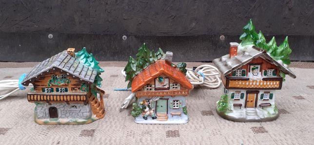 Stary Zestaw figurek Górskich Domków z porcelany podświetlane WYSYŁA
