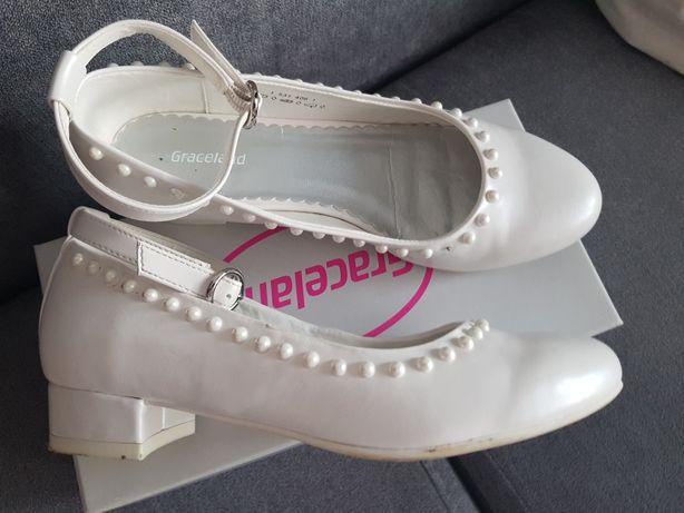 Buty komunijne baleriny białe 35 23cm