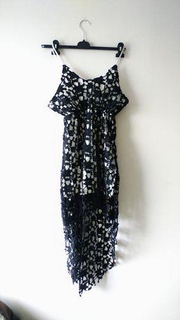 Koronkowa sukienka midi ramiaczka asymetryczna koronka gipiura