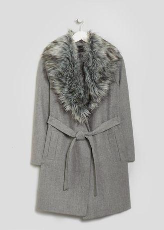 M 38 damski szary płaszcz płaszczyk futerko wiązany szlafrokowy hit