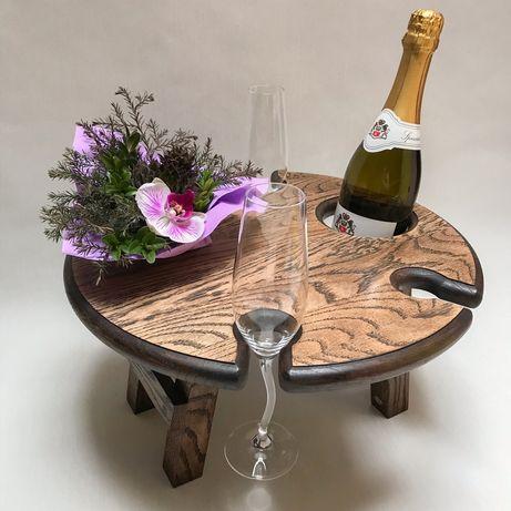 Винный столик, деревянный стол, дубовый столик