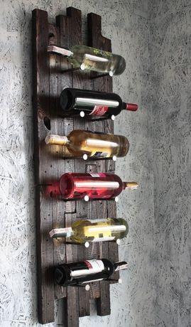 Półka na wino z desek drewna vintage loft rustykalna gwoździe alkohol