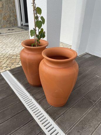 2 vasos ceramica terracota para jardim
