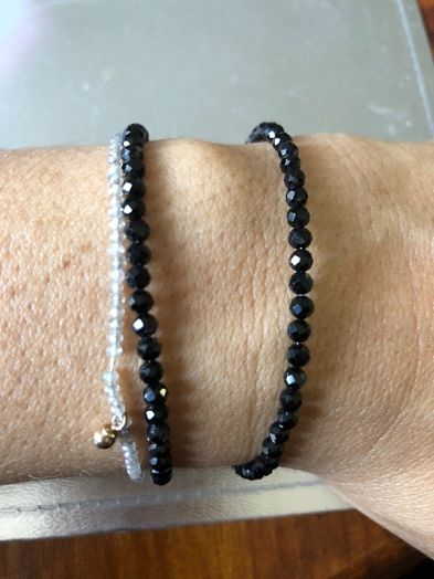 Bransoletka srebro czarna spinel kamień nat. handmade