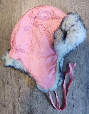 Шапка-ушанка на девочку зимняя с мехом