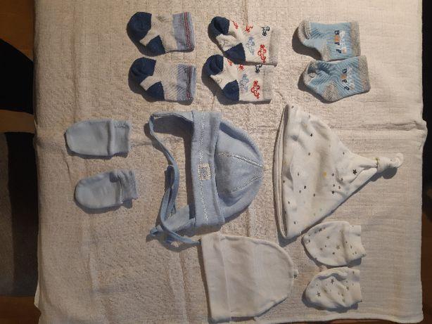 Ubranka chłopięce: rękawiczki niedrapki, skarpetki, czapeczki
