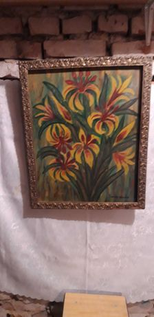 Stary obraz w ramie ręcznie malowany farbą olejną