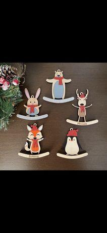 Олень, пингвин, лиса, медведь, заяц, снеговик, дед мороз, дом, елка
