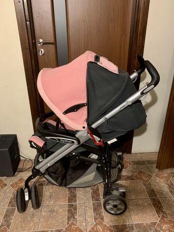Różowy wózek firmy Peg-Pérego