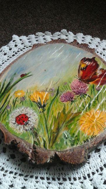 Obraz olejny malowany na pniu drzewa rękodzieło dla kolekcjonera