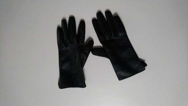 Rękawiczki damskie, czarne z eco skòry reserved, rozmiar S