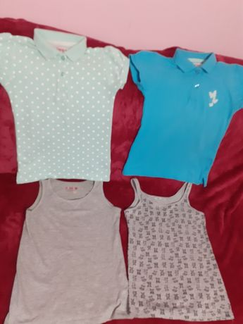 Bluzeczka polo i podkoszulki dla dziewczynki 134