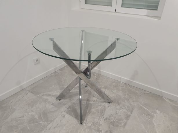 Mesa redonda NOVA inox e vidro