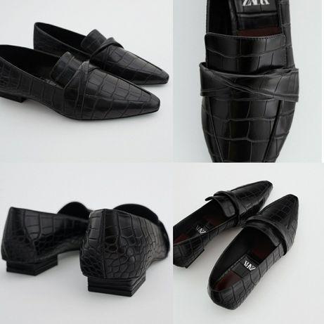 Оригинал! Zara 38 39 41 лофферы чёрные туфли балетки чорні Зара
