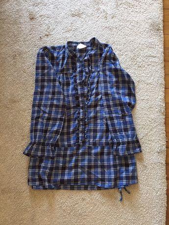 Camisa tunica xadrez azul lefties tamanho 7/8anos