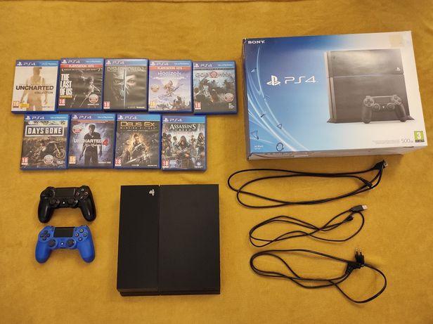 PS4 + 9 gier + dodatkowy pad (zestaw)