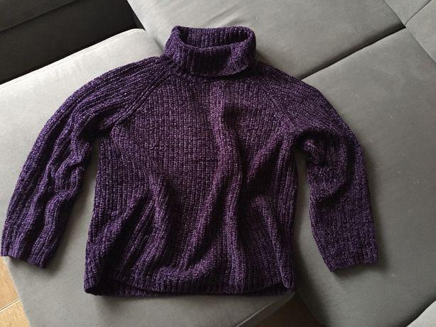 śliwkowy fioletowy cieplutki sweter golf damski kapp ahl rozmiar s