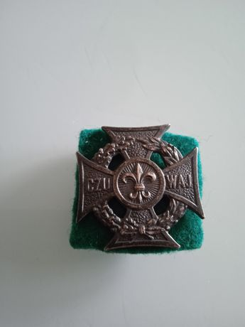 Krzyż przypinka PRL Czuwaj harcerski