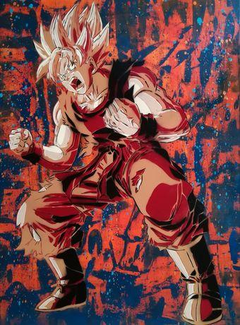 Son Goku pintura original em tela