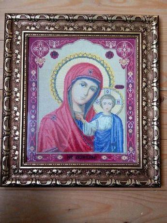 Картина вышитая крестиком Икона казанской божьи матери, на подарок