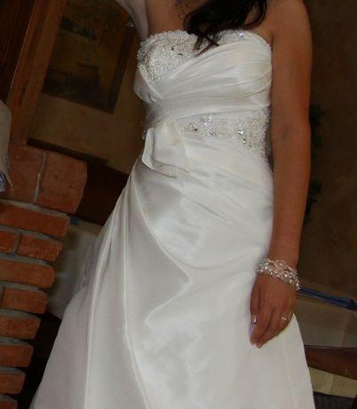 Suknia ślubna 34/36 160 cm wzrostu kolor ivory sznurowana + 2 welony
