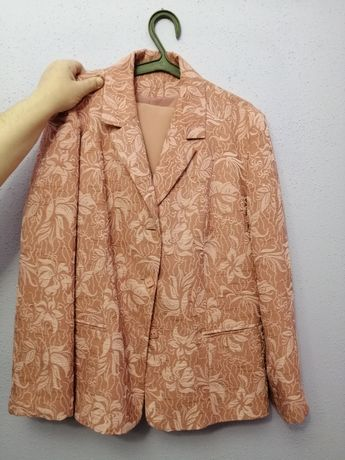Garsonka żakiet spódnica bluzka komplet 3 formalny jasny różowy