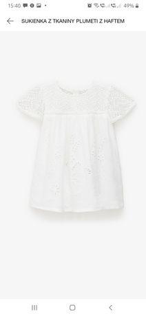 Zara 110 sukienka plumeti z haftem