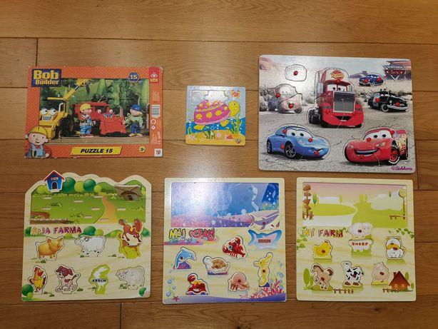 6x drewniane układanki zwierzęta morskie, farma, Cars +4 ksiazki