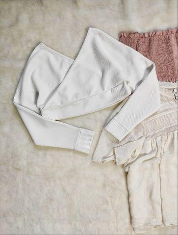 Белый теплый кроп топ короткая кофта джемпер открытыми плечами запах