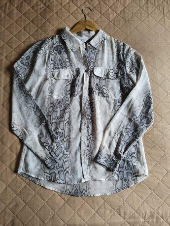 Koszula bluzka mgiełka zwiewna print Snake wężowy 42 XL szyfon
