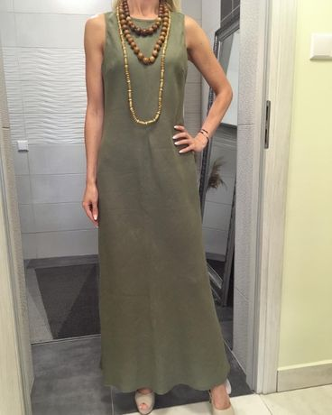 Nowa lniana długa sukienka khaki len zieleń piękna luksus rozm. M