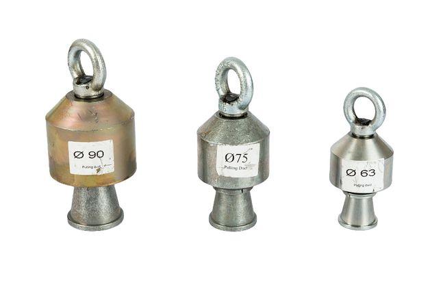 Chwytak głowica dzwonek ciągadło uchwyt do wciągania rur 75 mm PE