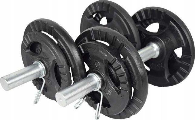 ZESTAW HANTLI ŻELIWNYCH 2X10kg kierownica trening siłownia obciążenie